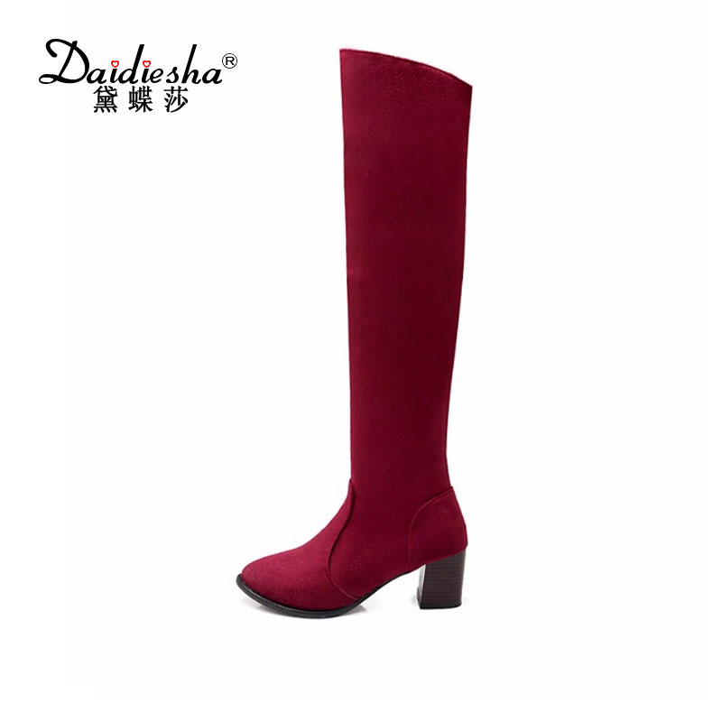 где купить  Daidiesha 2017 concise women knee high boots for women plain square heels round toe winter leopard flock Warm fur  fashion boots  по лучшей цене