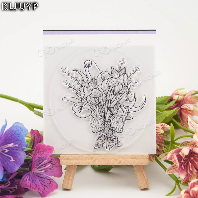 KLJUYP Flower Bouquet Transparent Clear Silicone Stamp/Seal for DIY scrapbooking/photo album Decorative clear stamp sheets