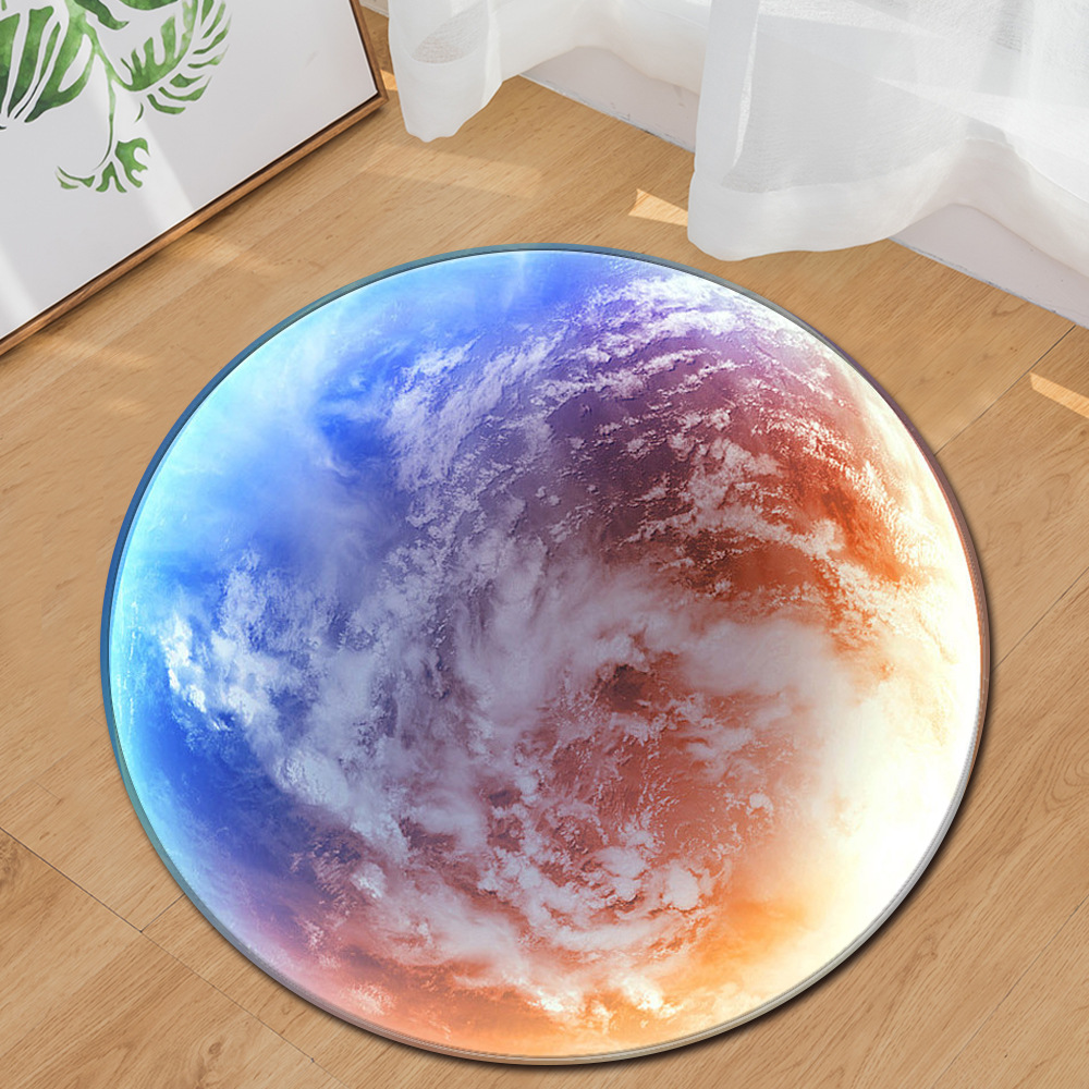 Nordic Trend Round Suede Carpet Living Room Bedroom Mat Planet Earth Moon Rug Bath Fashion 60/80/100/60/40m