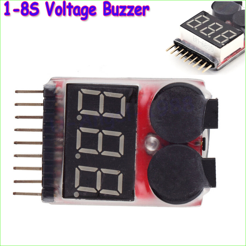 New Lipo battery Voltage Indicator volt meter monitor buzzer Alarm 1-6S 3.7V-22.2V 3.7V 7.4V 11.1V 14.8V 18.5V 22.2V rc model 2s 3s 4s detect lipo battery low voltage alarm buzzer