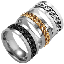 LNRRABC 1pcs Popular Black/Golden/ Silver Men Rings Stainless Steel Titanium Chain Rock Size 6-12 Jewelry(China)