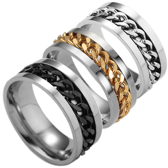 LNRRABC 1pcs Popular Black/Golden/ Silver Men Rings Stainless Steel Titanium Chain Rock Size 6-12 Jewelry