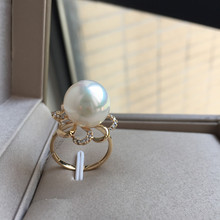 Women Gift word 925 Sterling silver real Permanent natural seawater pearl Nanyang Gaultheria ring circle
