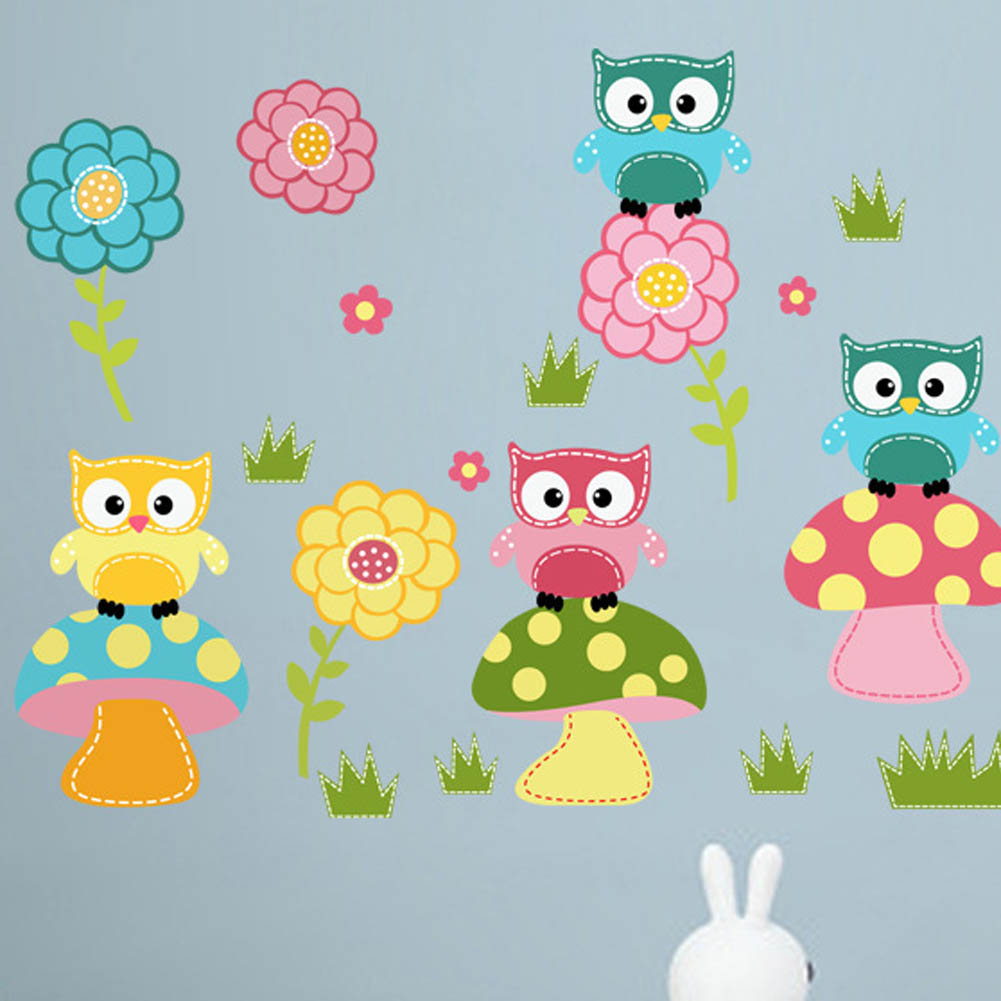 US $3 29 Fashion Wall Sticker Kids Child Room Decal Cartoon Cute Animal Owl Flower Mushroom Stickers Art Mural Decor Wallpaper Wall Stickers