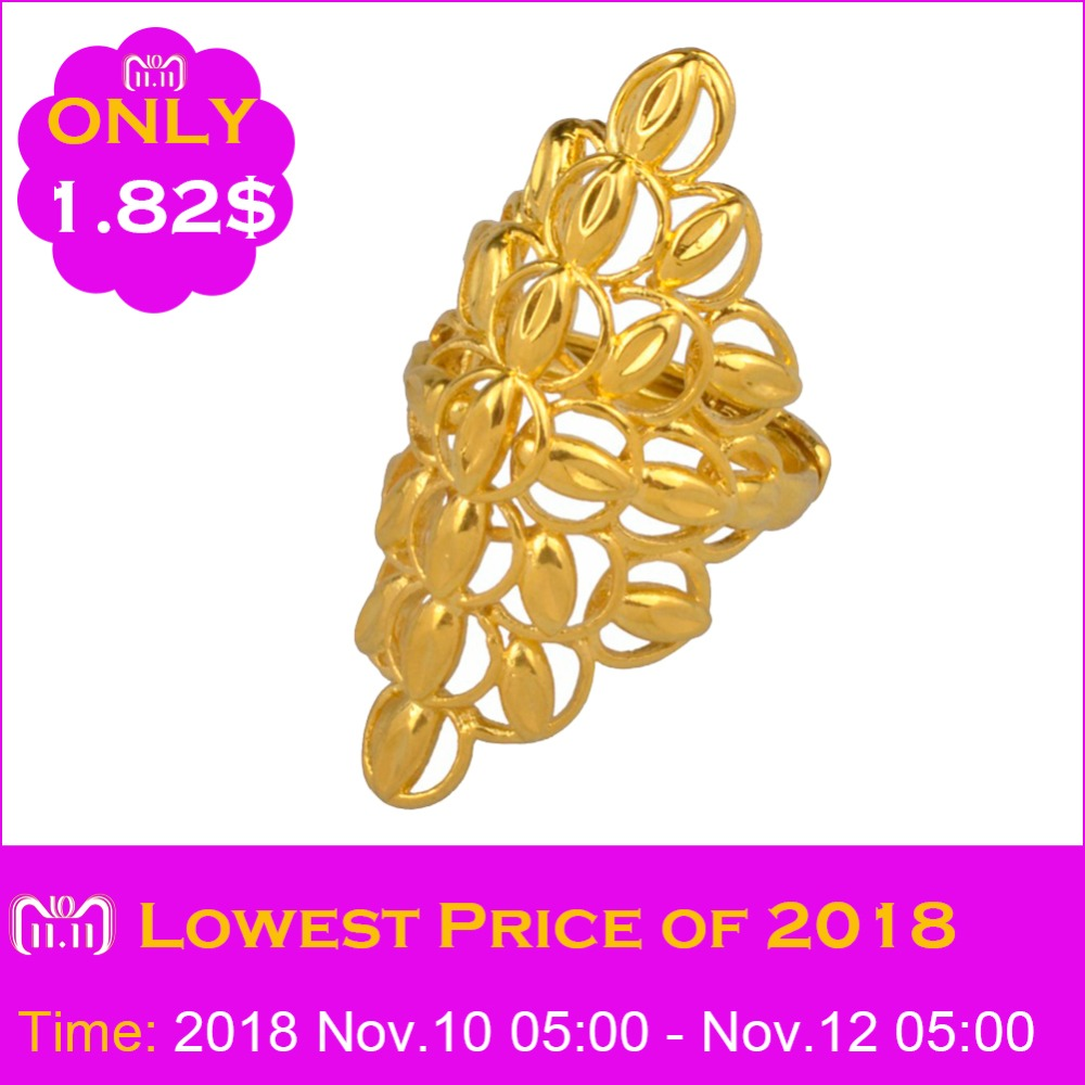 Anniyo Large Size Ring for Women Men Ethiopian Gold Color Exaggerated African Wedding Big Ring Jewelry Style Gifts #089206 punk style pure color hollow out ring for women