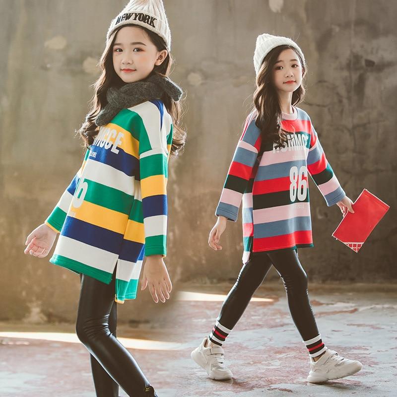 e04afad537f65 Girls shirts Kids thanksgiving shirt Girls Winter clothes Thicken Velvet  inner T-shirts Striped tshirts girl Fashion clothes