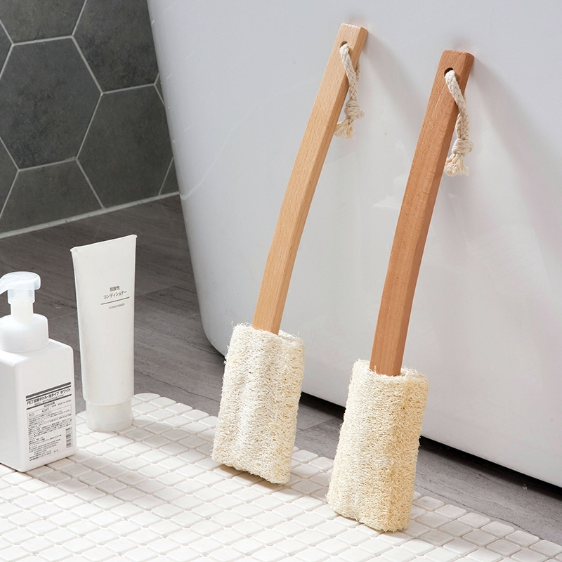 Loofah beech bath brush long handle bath brush bend back rub back brush bath shower ...