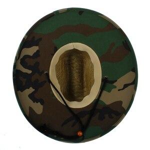 Image 4 - Sombrero salvavidas de tejido de paja Natural para hombre, sombrero de Sol de playa, ala ancha, Camuflaje, Panamá, talla 58 59CM