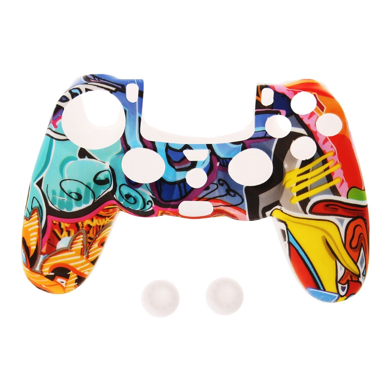 Multicolor Style Silicone Gamepad Cover Case + 2 Joystick Cap For PS4 Controller 100% brand new and high quality