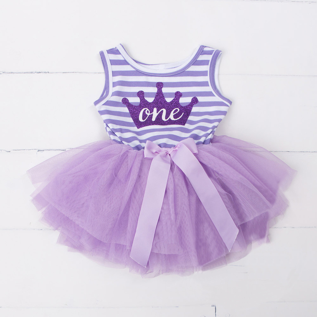 6eac97363996d Baby Flower Girls Princess First Birthday Outfits One Two Three Years Old  Birthday Baby Toddler Dresses Clothes Striped