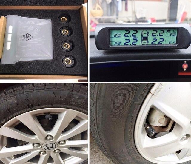 Solar TPMS Alarm ciśnienia w oponie w samochodzie Monitor systemu 4 koła wewnętrzna/zewnętrzna temperatura czujnika opony D01W D01N D02N Pro Visture