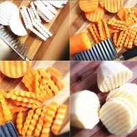Creative multifunctional stainless steel slicer potato chopper knife fries knife wave knife kitchen cutting strip artifact