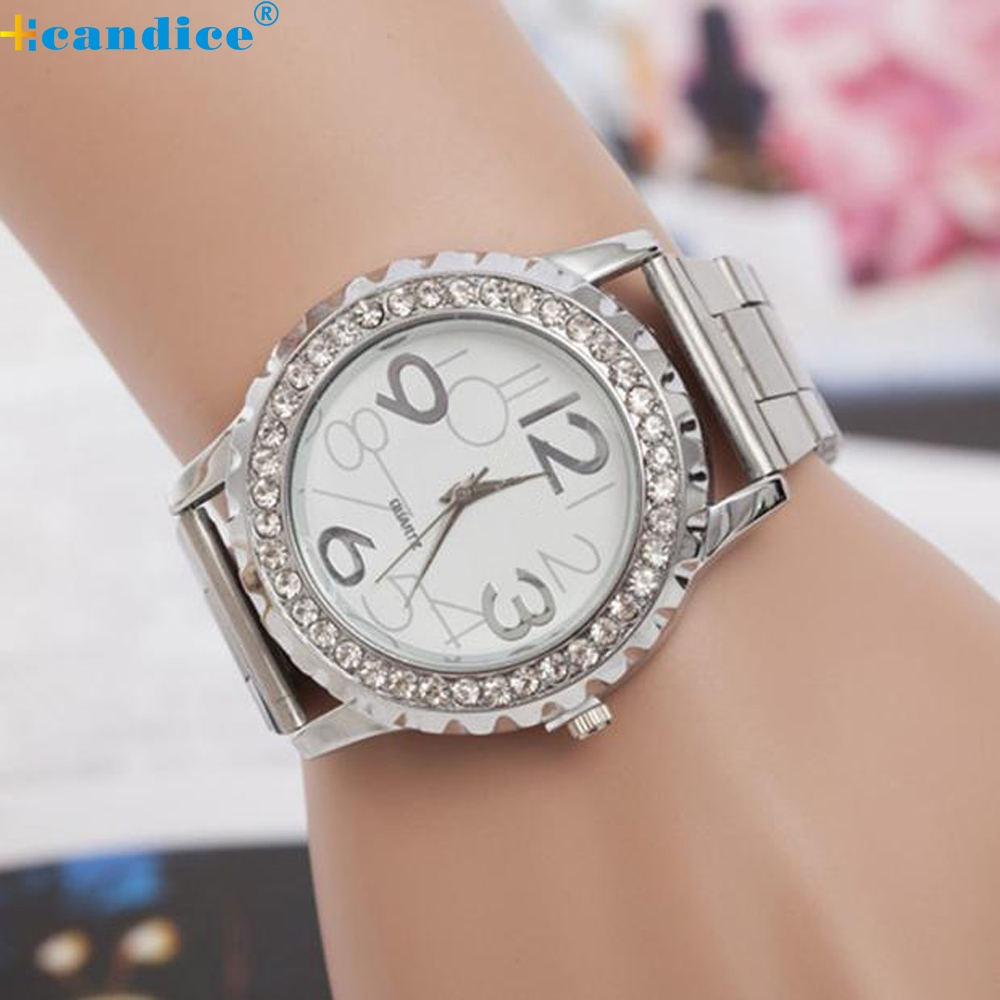 New Design Fashion Women watches Rhinestone Alloy band Analog Quartz Wrist Watch relojes mujer marca de lujo free shipping O21