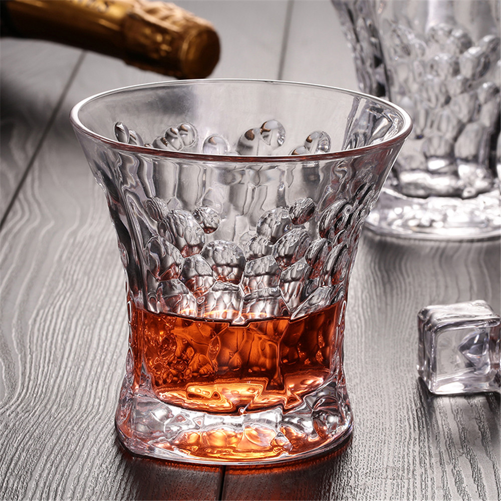 Fish Scale Pattern Whisky Glass Cup Ultra Clear Lead-Free Wine Beer Whisky Water Drinkware Home Bar Party Wedding Glass Cup