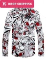 New Mens Shirt Chinese Style Print Long Sleeve Shirt Men Chemise Homme High Quality Casual Slim Fit Mens Shirts 5xl,hx33