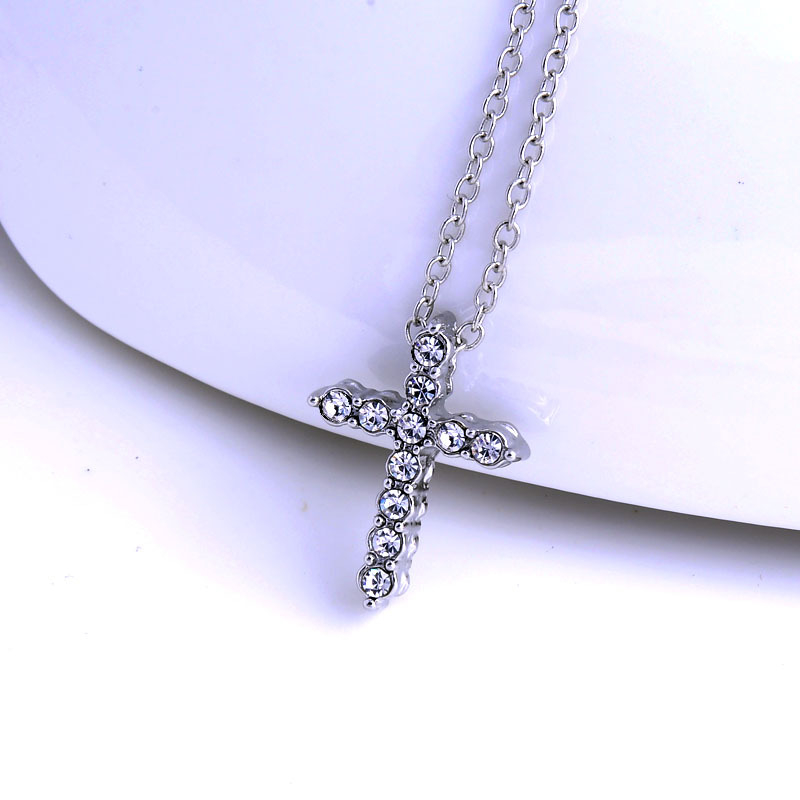 Rhinestone Cross Necklace Sweet Clavicle Small Pendant Fashion Woman Zircon Jewelry Cross Necklace Elf on The Shelf in Pendant Necklaces from Jewelry Accessories