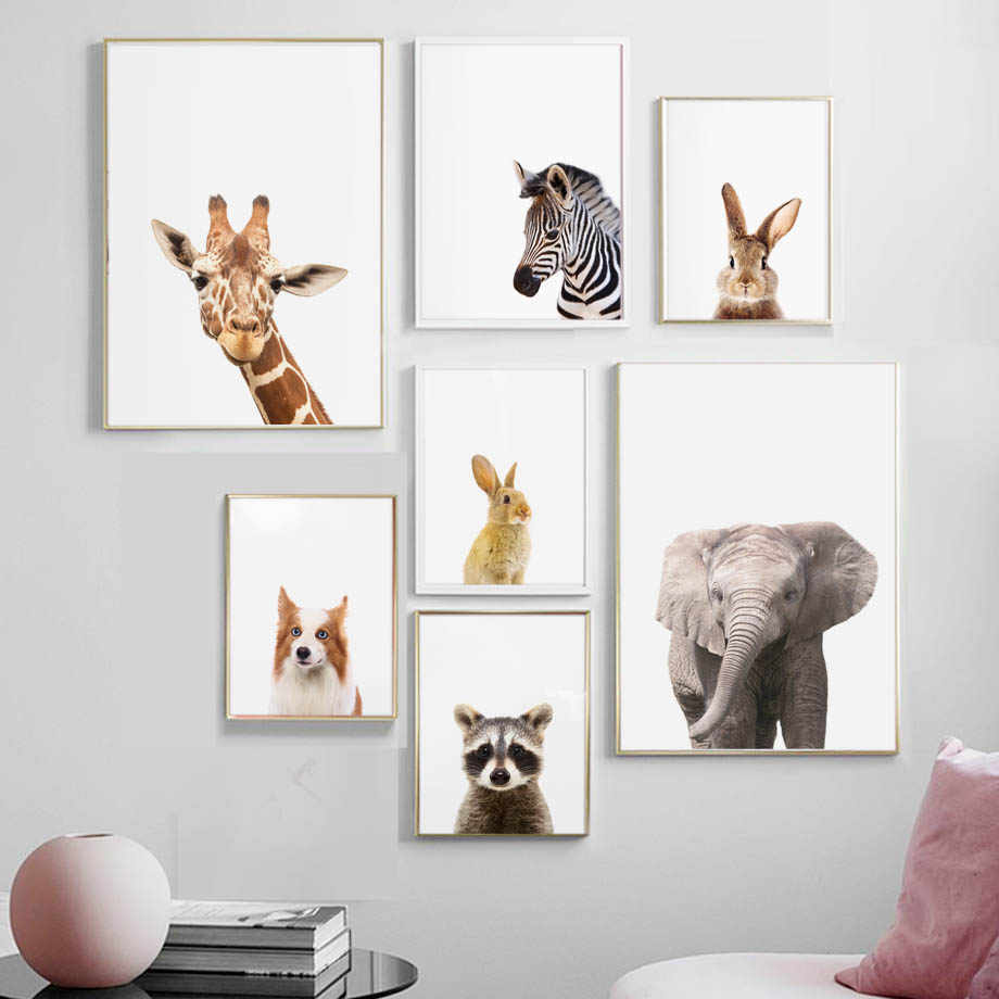 Cute Elephant Zebra Giraffe Raccoon Dog Wall Art Print Canvas Painting Nordic Posters And Prints Animal Wall Pictures Kids Room