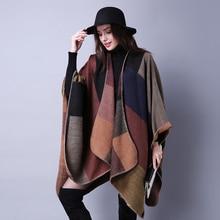 Женская шаль с геометрическими кисточками на пуговицах, теплое толстое свободное пончо большого размера для девушек, Осень зима