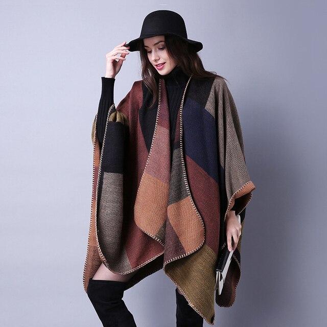 Yeni moda sonbahar kış kadın moda geometrik püskül düğme şal sıcak kalın büyük boy kızlar çerçeve tarzı gevşek panço