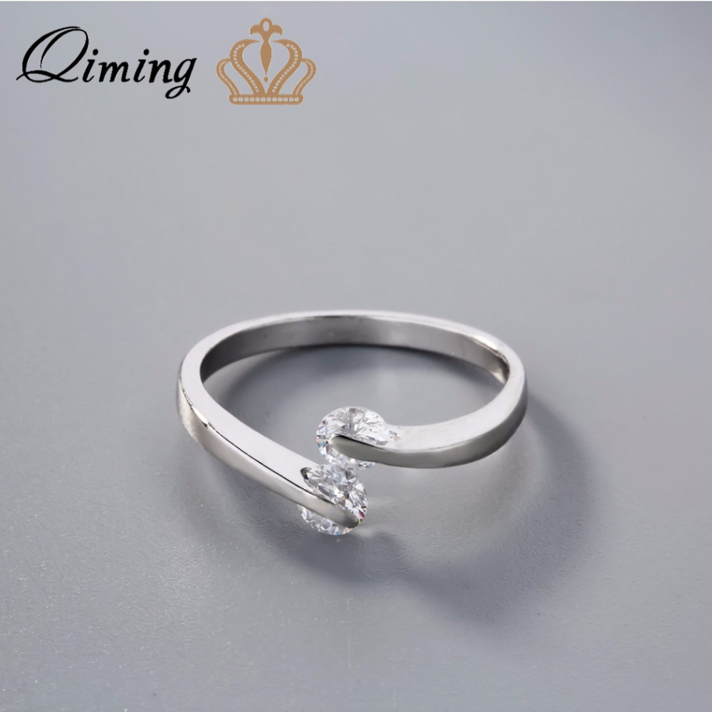 Qiming Nice Engagement Ring Simple Style Wedding Jewelry 925 Sterling  Silver Ring Cubic Zircon Love Gift