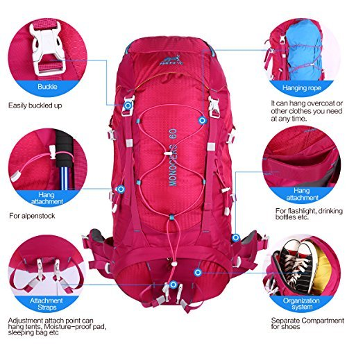 Outdoor Camping Backpack Rucksack Sports Male bag for travel Hiking and mountaineering Waterproof Ultralight 60L with rain cover