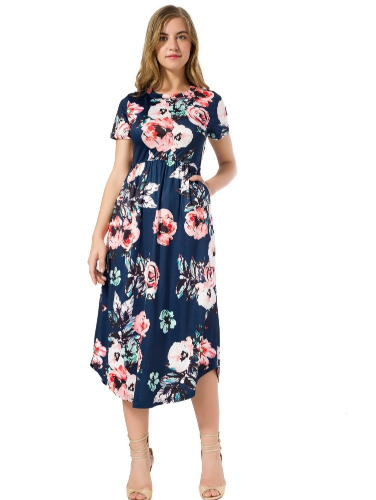 Bohemia Women Pleated Mid-Calf Dress 2018 Summer Female Short Sleeve Elegant Boho Floral Printed Dresses GV879