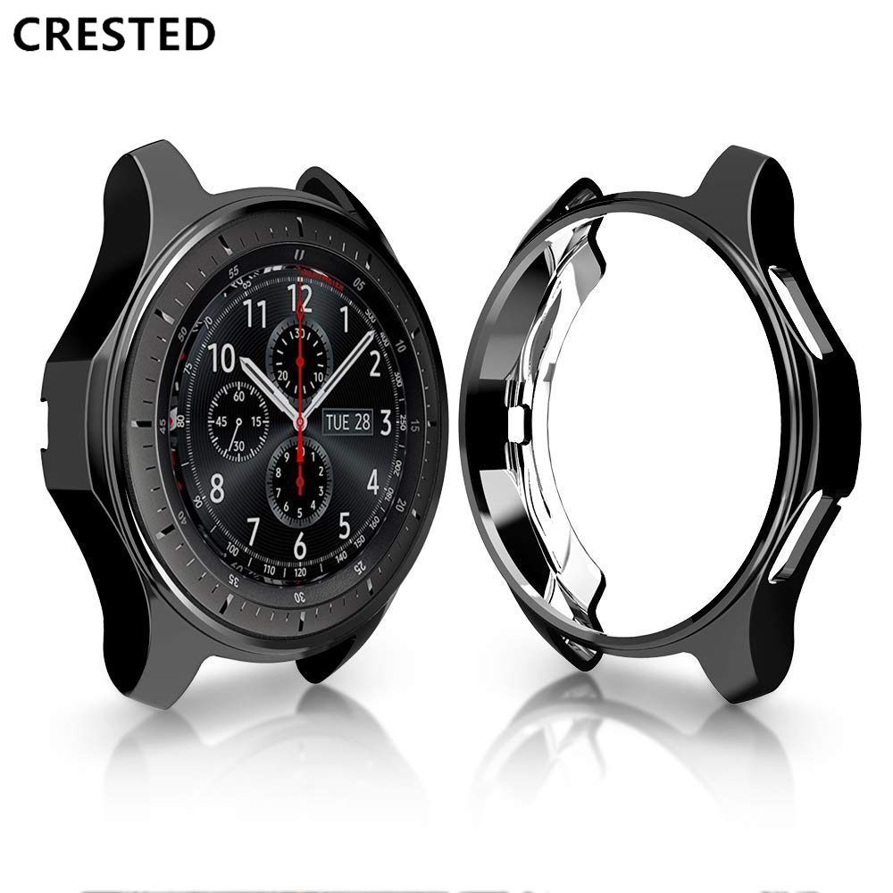 CRESTED Gear S3 frontier case For <font><b>samsung</b></font> Galaxy Watch <font><b>46mm</b></font> reloj cover soft TPU plated All-Around protective case shell frame image