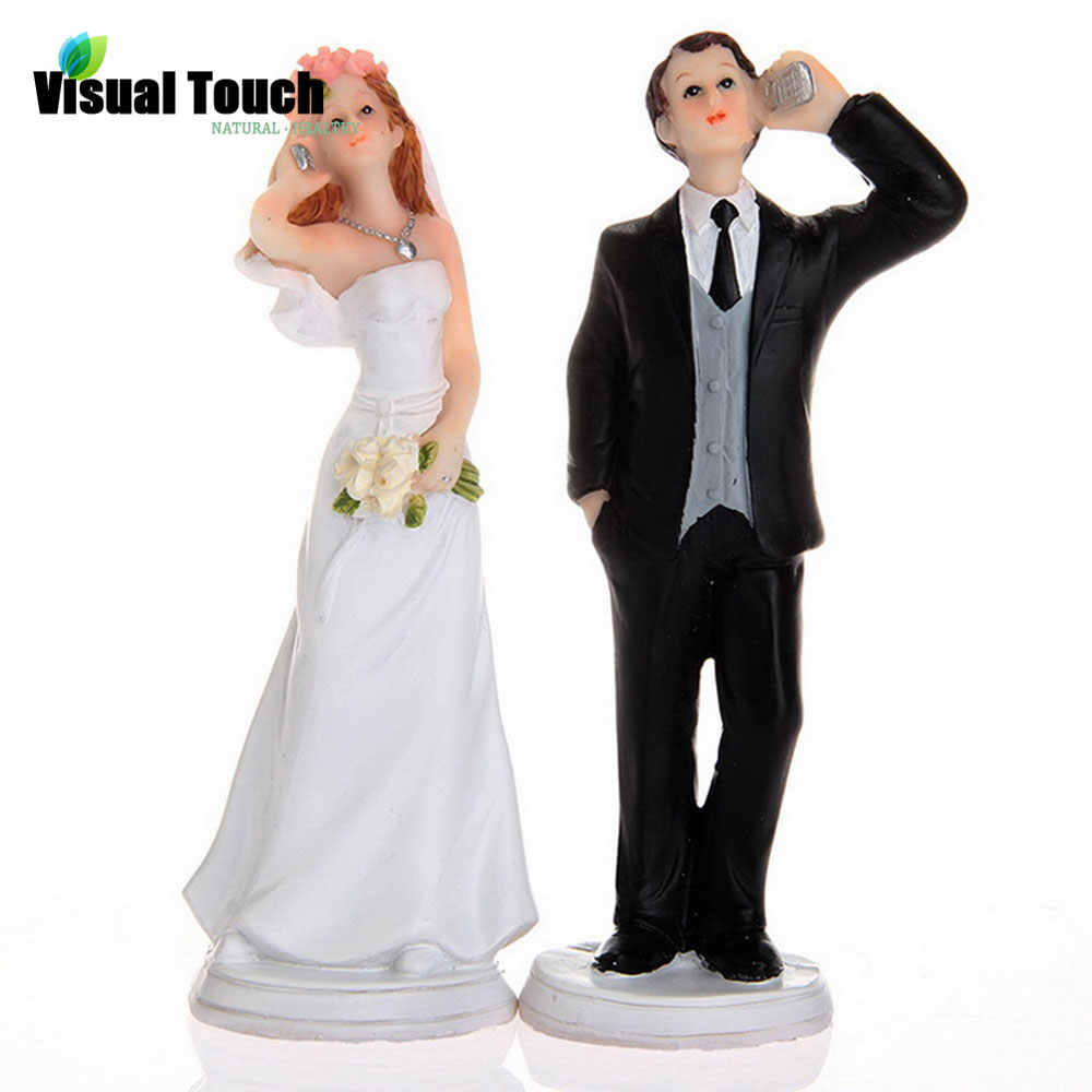 Visual Touch Romantic Bride And Groom Toppers Couple Figurine Wedding Funny Cake Topper For Wedding Cake Decoration