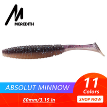 "Купить с кэшбэком MEREDITH 3.15"" Absolut Minnow Fishing Baits 3.7g 80mm 10pcs Paddle Tail Lure Wobbler Fishing Lures Artificial Fishing Soft Worm"