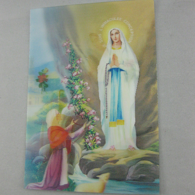 Catholic gifts hd waterproof 3d art pictures photo Virgin Mary of Lourdes appearance icon 9*