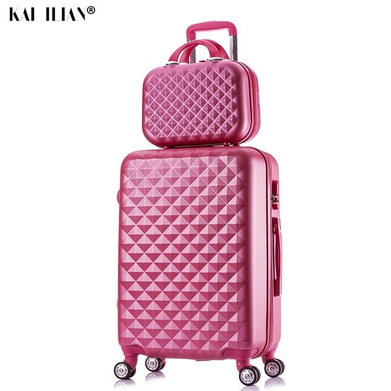 2 pièces/ensemble sac cosmétique de mode 20/22/24/28 pouces fille étudiants boîtier de chariot voyage spinner mot de passe bagage femme valise à roulettes