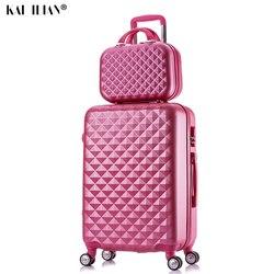 2 stks/set mode Cosmetische zak 20/22/24/28 inch meisje studenten trolley case Travel spinner Wachtwoord bagage vrouw rollende koffer