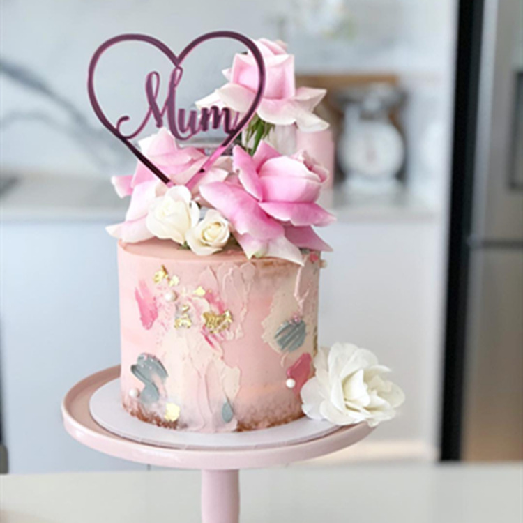 Pleasing Ins New Mum Acrylic Cake Topper Rose Gold Mom Happy Birthday Cake Personalised Birthday Cards Veneteletsinfo