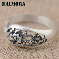 Retro Flower Hollow Open Ring 100 990 Pure Silver Jewelry Women Finger Rings Anniversary Wedding Gifts