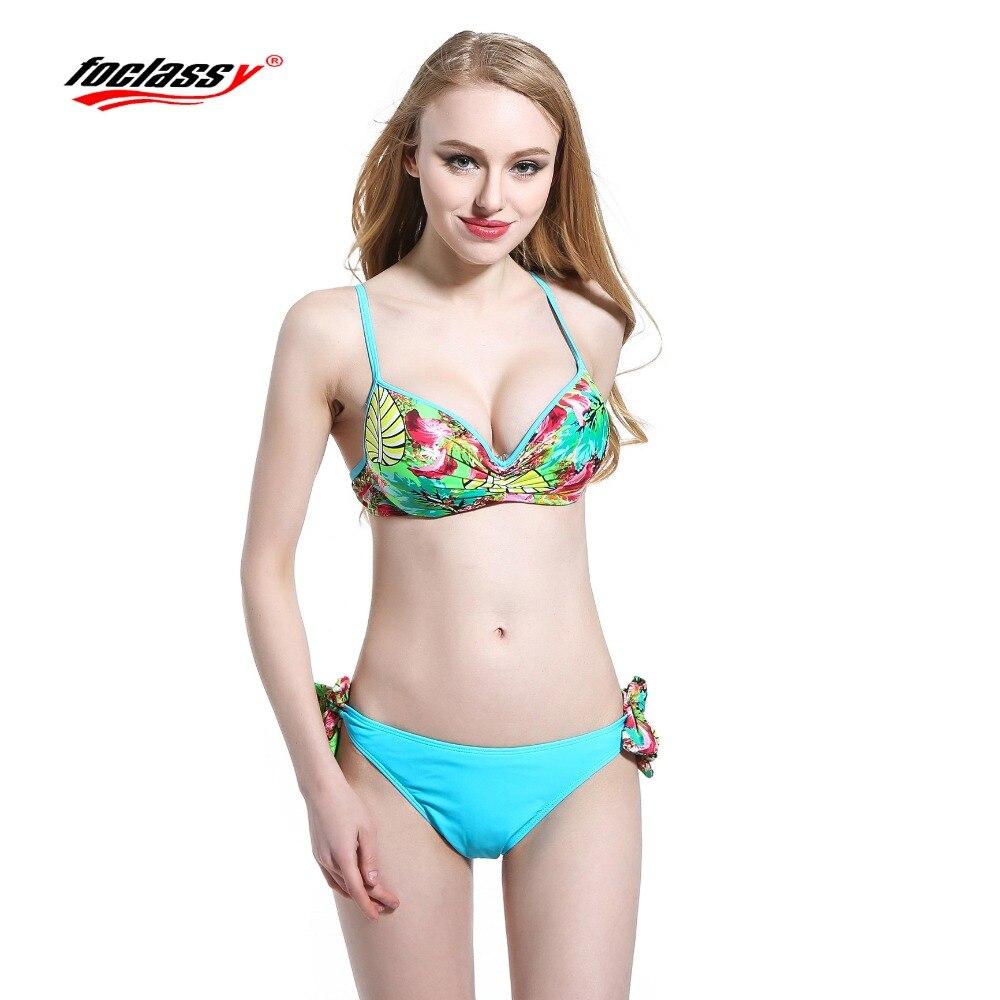 Foclassy Swimsuit Bikini 2017 Plus Size push up set Swimwear Womens swimming suit Bandeau Bather Bathingsuit Beach Wear
