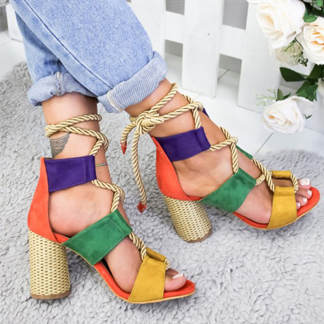 Pointed Fish Mouth Rope High Heels 1
