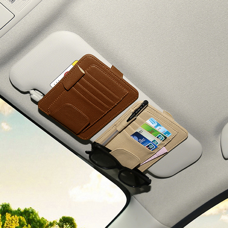 PU Car Sun Visor Glasses Sunglasses Ticket Receipt Card Clip Storage Holder glasses and cards car holder