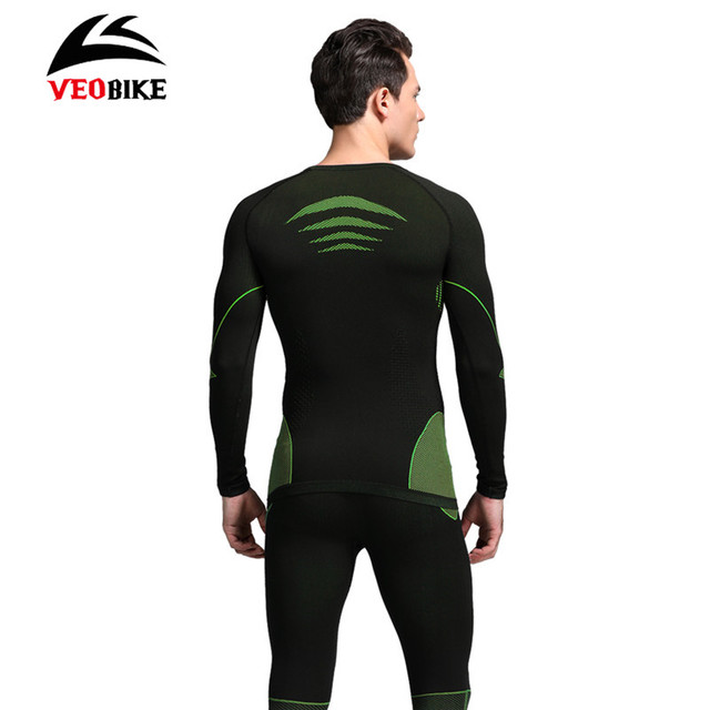 VEOBIKE Bike Thermal Underwear Set Outdoor Sports Winter Warm Tight Long Sleeve Bicycle Jerseys Sportswear Cycling Base Layers