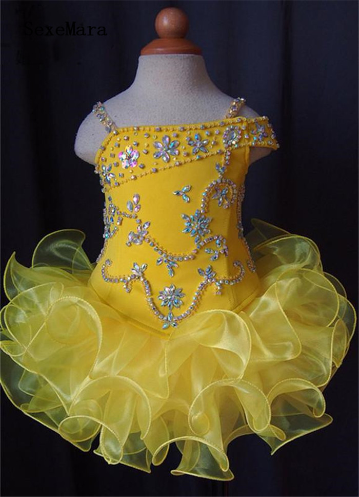 Yellow Puffy Organza Crystal Girl Pageant Dresses Princess Dress Clothing Show Children Birthday Party Dress Baby Girls DressYellow Puffy Organza Crystal Girl Pageant Dresses Princess Dress Clothing Show Children Birthday Party Dress Baby Girls Dress