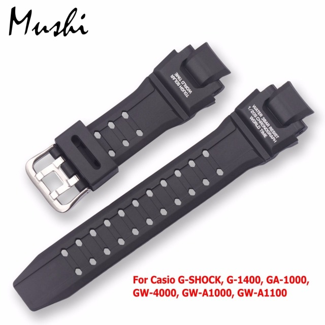 Black Silicone Stainless Steel Buckle Watchband for Casio G-SHOCK G-1400 GA-1000