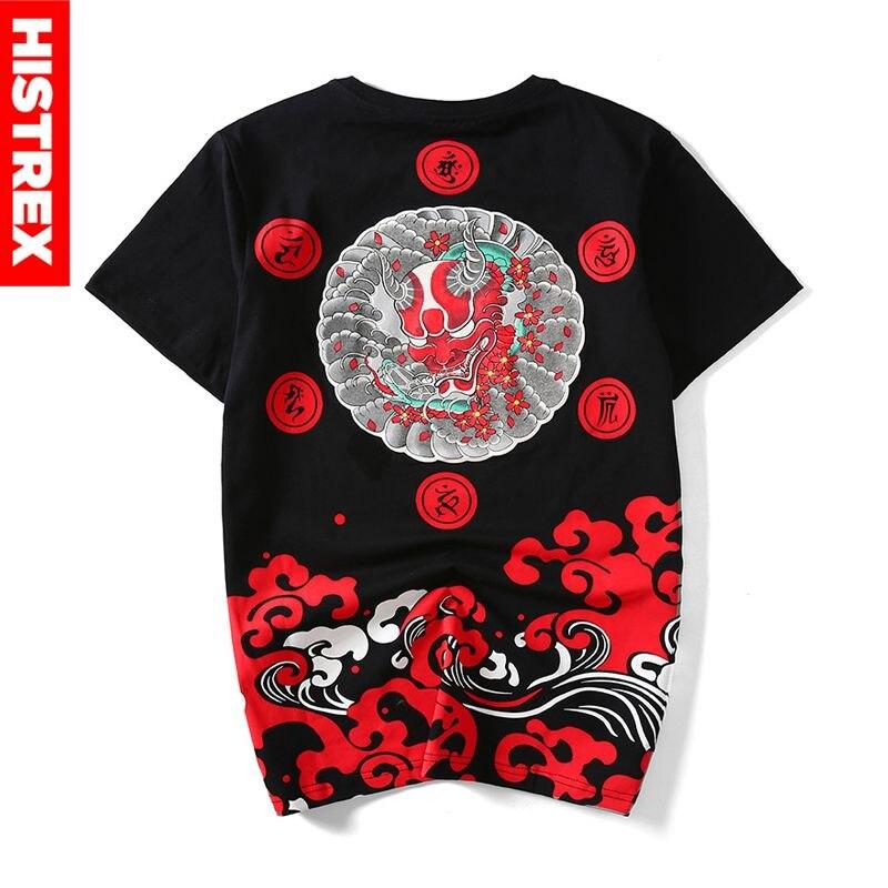100 Cotton Men T Shirt Print Devil Japanese Style Harajuku Ukiyo-e Tshirt Evil Satan Death Streetwear Satanist Tee T-shirts Man