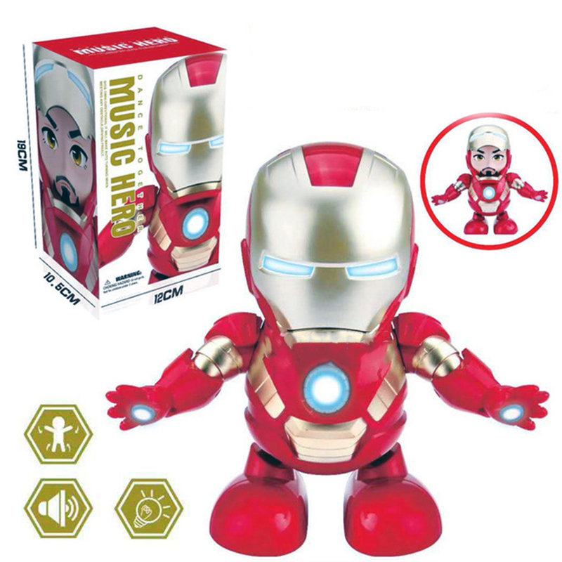 Singing Children's Toys Q Version Iron Man Electric Light Music Dancing Robot Toy Funny Gift Funny Gadgets