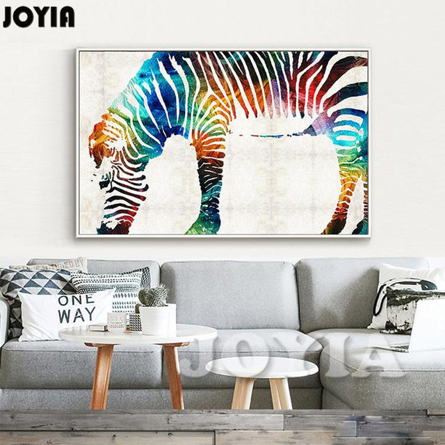 The Color Zebra Canvas Wall Art Rainbow Zebra Wall Decor Printed Painting  Calligraphy Minimalist Room Office