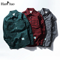 2017 Autumn Casual Men's Shirts Plaid Shirts Men Long Sleeve Cotton Male Clothing Green/Grey/Red