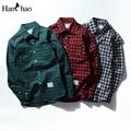 2017 otoño ocasional de los hombres camisas a cuadros camisas de manga larga de algodón masculina clothing verde/gris/rojo