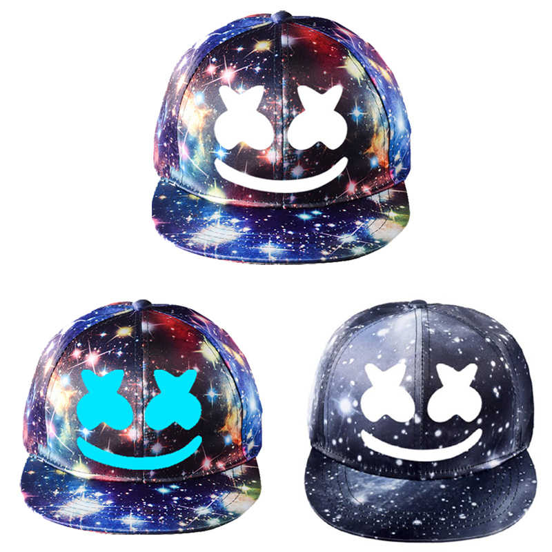 DJ Marshmello Starry Sky Print Snapback Cap Men Women Sun Baseball Hat Outdoor Hip Hop Hats