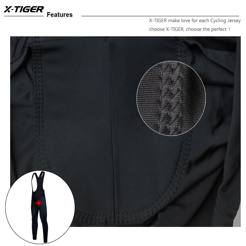 X-Tiger Winter Cycling Thermal Bib Pants With 3D Gel Pad Bicycle Quick-Dry Cycling Pants Keep Warm Whole Black MTB Bike Trousers 8
