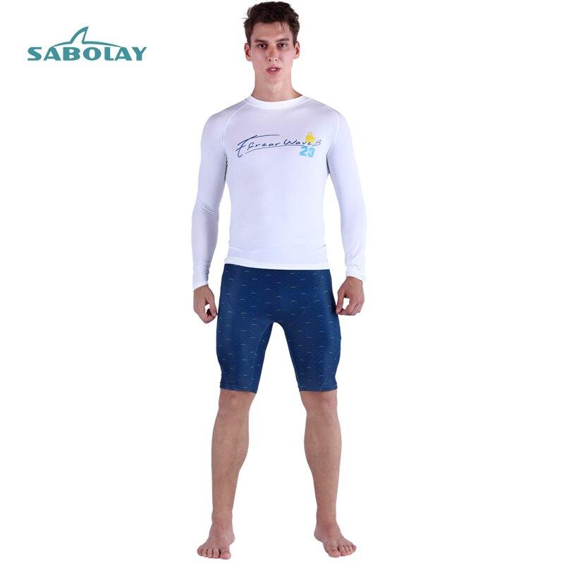 Rashguard Men Garment Swimming Snorkeling Surf Beach Water Sport Long Sleeve Letter Printing Shirt Dot Printing Short Pant L-5xl
