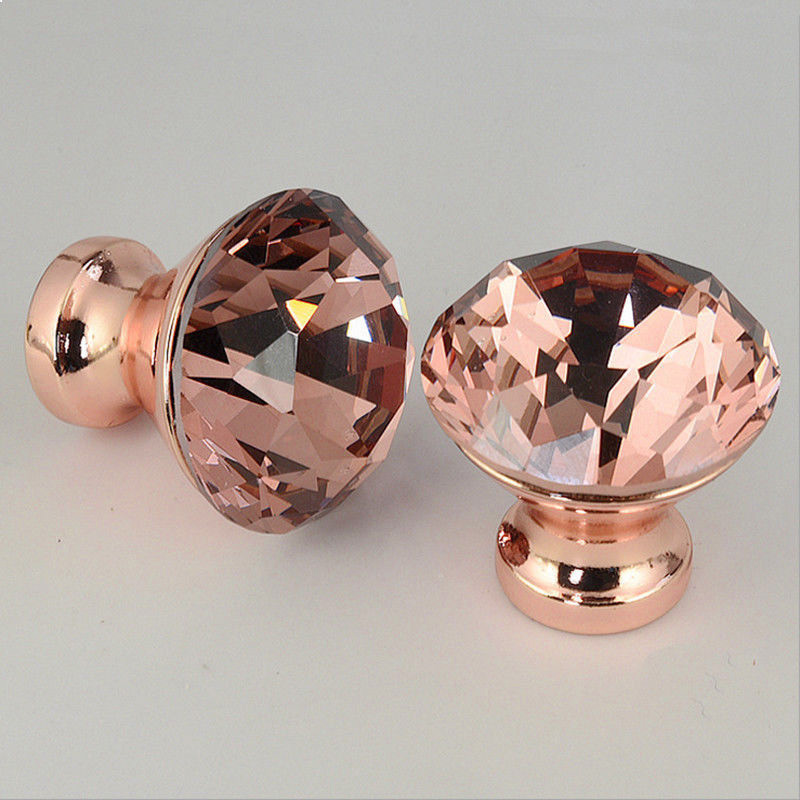 12pcs Rose Gold Crystal Door Furniture Knobs Cupboard Drawer Cabinet Handles New