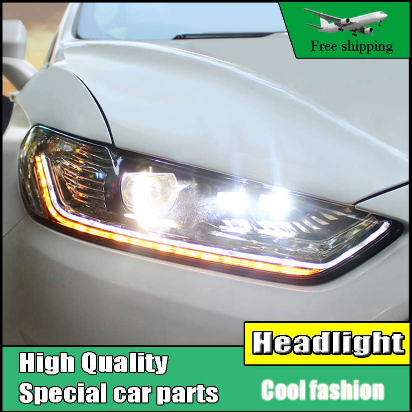 Car styling Head Lamp Case For Ford Mondeo For Fusion 2013 2014 2015 Headlights LED Headlight DRL Double Beam Lens Bi-Xenon HID union car styling for ford fusion headlights 2013 2015 new fusion led headlight original drl bi xenon lens high low beam parking